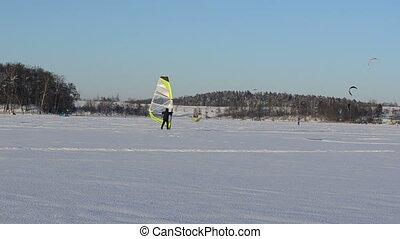 ice surfer winter kiting