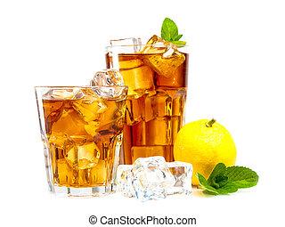 Ice tea - Lemon and mint ice tea isolated on white