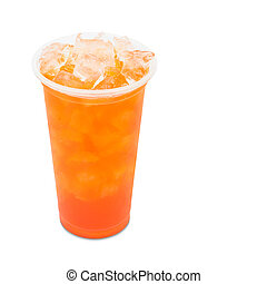 ice tea red plum in takeaway glass isolated on white...
