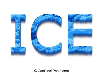 The word ice with a blue and icy texture.