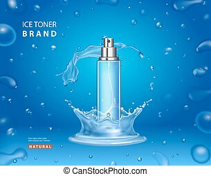 Ice toner cosmetic ads design. Realistic spray bottle water splash and drops on a blue background
