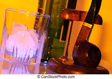 Ice whisky and pipe