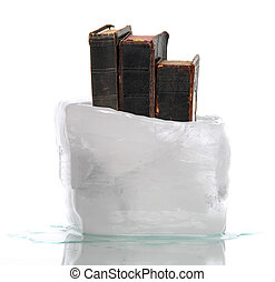 ice with very old prayer books - Stack of very old prayer...