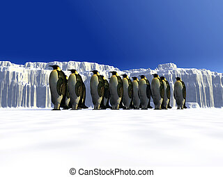 Ice world  - A ice landscape with some penguins on it.