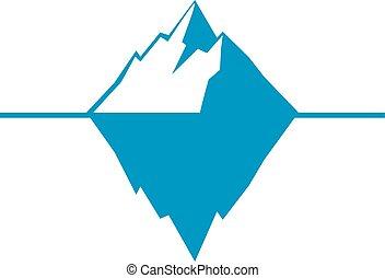 iceberg, aislado, hielo, fondo., berg, vector, blanco, icono