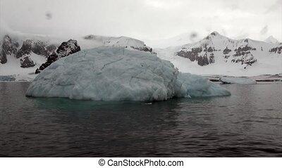 Iceberg and ice floe in ocean of Antarctica. Glacier on...