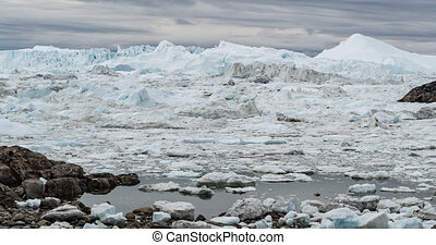 Iceberg and ice from glacier in arctic nature landscape on ...