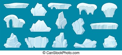 Iceberg. Arctic landscape with cold white ice rocks in the ocean water vector cartoon collection