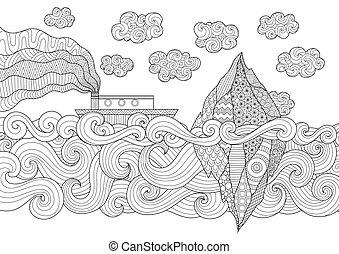 Iceberg - Zendoodle design of seascape with running vessel...