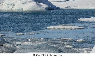 Iceberg close up J?kulsarlon - Icebergs moving in the...