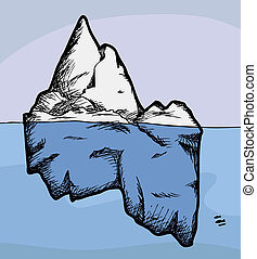 Cross section view of an iceberg above and below water
