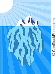 Iceberg - Vector illustration of iceberg floating in water