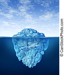 Iceberg floating in cold arctic ocean water with a small...