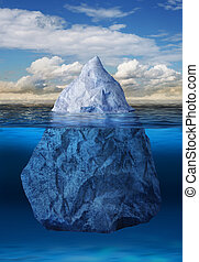 Iceberg floating in ocean - Iceberg floating in blue ocean,...