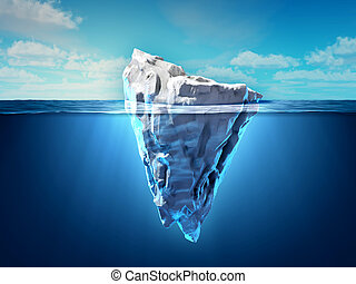 Iceberg floating in the ocean, both the tip and the...