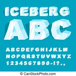 Iceberg font. Ice alphabet. Set of letters from cold ice....