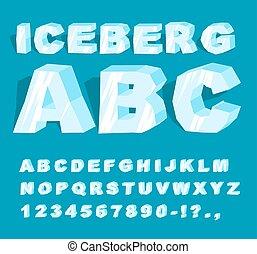iceberg, frío, alphabet., cartas, hielo, helado, abc., conjunto, ice., transparente, font., azul