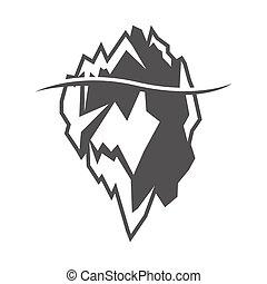 iceberg, gris, vector, plano de fondo, blanco, icono