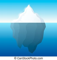Iceberg illustration and background. Iceberg on water concept. Vector.