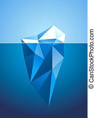 iceberg, imagen, forma, diamante, estilizado, congelado