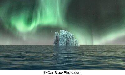 Iceberg in calm water. Night aurora sky