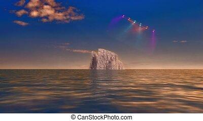 Iceberg in calm water. UFO in night sky