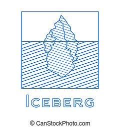 Iceberg in linear style. Outline iceberg isolated on white background.