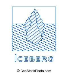 Iceberg in linear style. Outline iceberg isolated on white background.