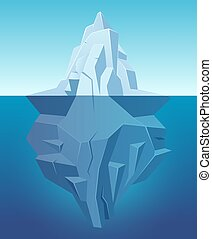 Iceberg in ocean. Big ice white rock in water polar ...