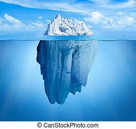 Iceberg in ocean. Hidden threat or danger concept. Central composition.