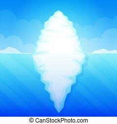 Iceberg in ocean water vector illustration
