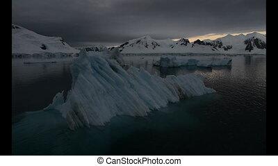 Iceberg in sunrise in Antarctica