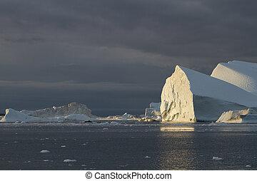 Iceberg in sunset