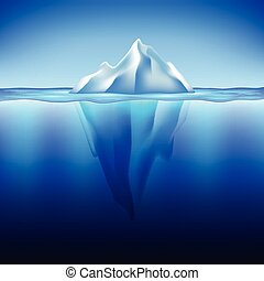 Iceberg in water vector background - Iceberg in water photo...