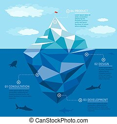 Iceberg infographic vector template. Business strategy concept. Polygon illustration