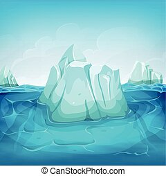 Iceberg Inside Ocean Landscape - Illustration of a cartoon...