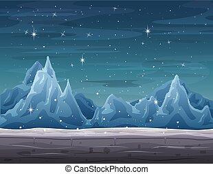 Iceberg landscape on winter season with snowfall