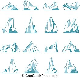 Iceberg. North pole hills winter mountains in ocean freezing ice rock snow recent vector collection