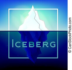 Iceberg on Blue Background with White Frame.