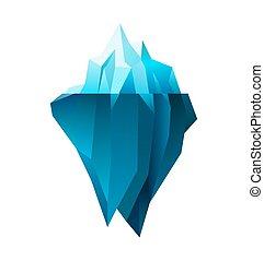 iceberg on white background, polygonal illustration