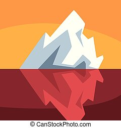 Iceberg over and under the water, Antarctic iceberg floating vector Illustration on an orange background