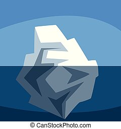 Iceberg over and under the water, Antarctic iceberg floating vector Illustration on blue background
