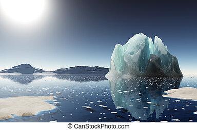 iceberg, pôr do sol, antarctica.