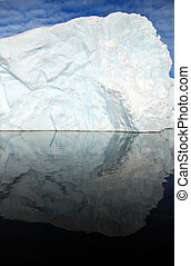 iceberg perfectly reflected in the sea