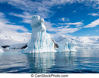 iceberg, pináculo, dado forma, península, baía, antártica, neko, antárctico, andvord, porto