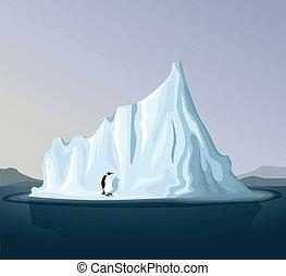 iceberg, pingüino