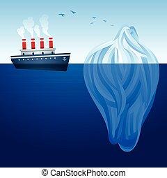 Iceberg ship - A ship and an iceberg concept background....