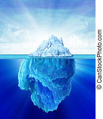 iceberg, solitario, en, el, sea.