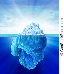 Iceberg solitary in the sea. Outside and under water sides shown. Soft cloudy sky in the background.