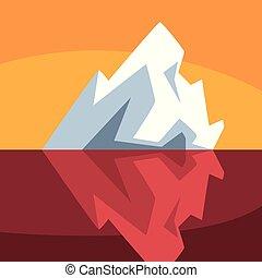 iceberg, sur, illustration, vecteur, eau, fond, sous, orange, flotter, antarctique